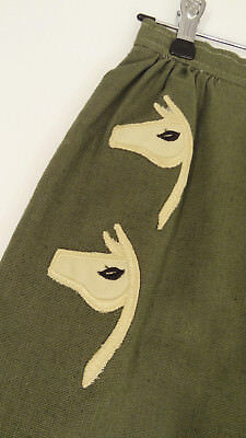 Cute Vtg 60s Embroidered-Applique Llamas/Animal-Head Cotton Pencil Skirt-XS/S