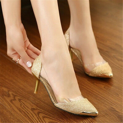 Sexy Women Sequins Pointed Toe Pumps High Heels Shoes Pumps Party Wedding Size 8