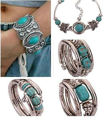 Women Vintage Retro Turquoise Beads Tibetan Silver Adjustable Bracelet bangle