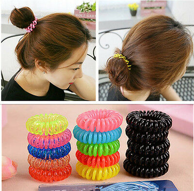 12X Spiral Hair Band Headband Elastic Ties Rope Rubber Ponytail Holder Gifts
