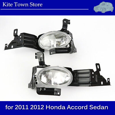 New Pair of Replacement Glass Clear Fog Lights for 2011 2012 Honda Accord Sedan