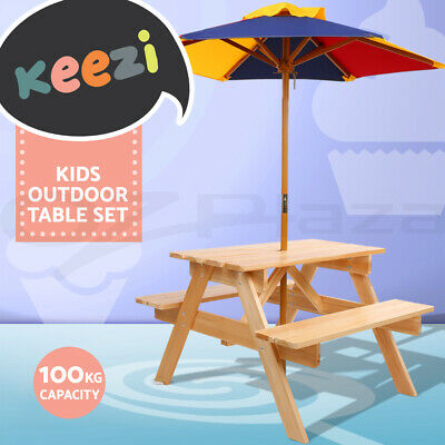 Excellent Keezi Kids Picnic Table Bench Set Umbrella Children Wooden Outdoor Indoor Chair Download Free Architecture Designs Scobabritishbridgeorg