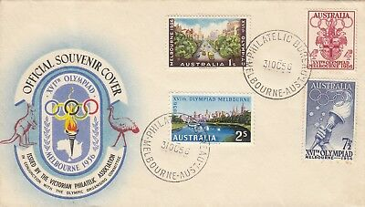 Stamps 1956 Australia set of 4 on Olympic Games souvenir cover first day issue
