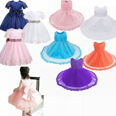 fcdf0a6c0b3b AU KIDS BABY Flower Girls Dress Lace Floral Tulle Party Pageant ...