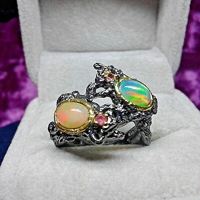 Anello opale argento rane frog opal opala anillo ring anneau anel