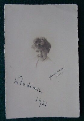 Grand Duke Kirill & Vladimir Romanov Russia Antique Signed Photo as Child 1921