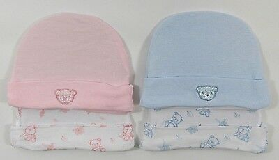 Tiny Baby Premature 2 Pack Hats Boys Girls Blue Pink Teddy Plain Pattern 59