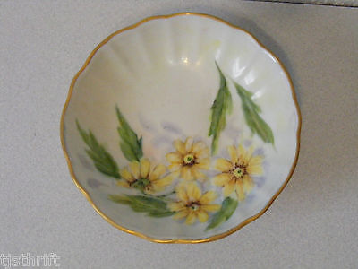 Vintage Jc Peterson 64' Footed Soap Ring Dish Yellow Flower Floral Gold Trim  ~P