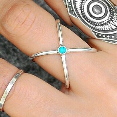 Criss Cross Turquoise Ring 925 Sterling Silver X Geometric Statement Size 6 8 9