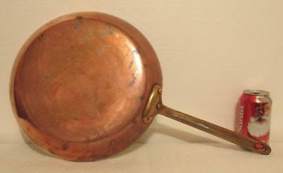 Early Large Copper Frying Pan Skillet 12.25 inches Made in France Heavy 3.75 lbs