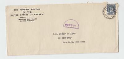 NIGERIA -US 1941, US CONSULATE CENSOR(VIOLET H/S) COVER, 3d RATE(SEE BELOW)