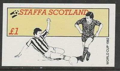 GB Locals STAFFA 7466 - 1982 FOOTBALL WORLD CUP souvenir sheet u/mint
