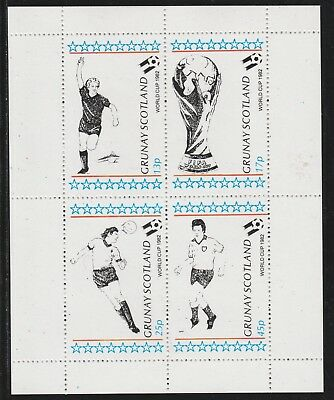 GB Locals GRUNAY  7482 - 1982 FOOTBALL WORLD CUP perf sheetlet of 4 u/mint