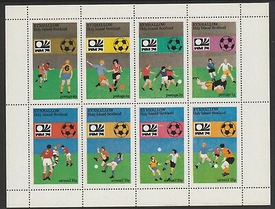 GB Locals EYNHALLOW  7486 - 1974 FOOTBALL WORLD CUP perf sheetlet of 8 u/mint