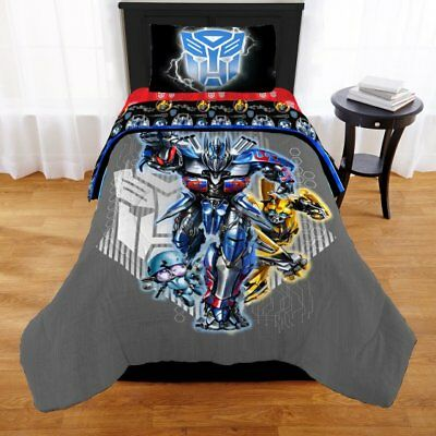 Transformers 5 Autobot Boys Full Comforter, Sheets & Sham (6 Piece Bed In A Bag)