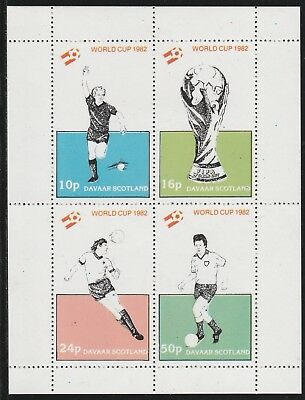 GB Locals DAVAAR  7488 - 1982 FOOTBALL WORLD CUP perf sheetlet of 4 u/mint