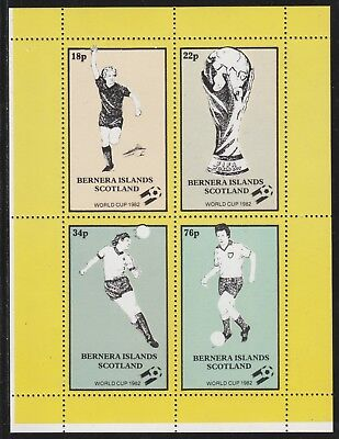 GB Locals BERNERA  7489 - 1982 FOOTBALL WORLD CUP perf sheetlet of 4 u/mint