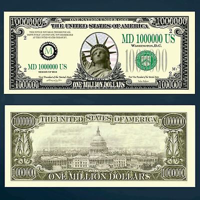 One Million Dollar Money Bill Novelty Statue Of Liberty New