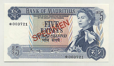 Mauritius 5 Rupees ND 1978 Pick 30.s UNC Uncirculated Banknote Specimen