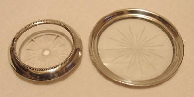 2 pc. Sterling Silver Rimed Glass Coasters Wine Bottle & Glasses Scrap or Not!