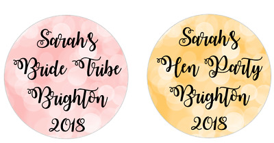 Hen Party Bokeh Effect personalised 24x40mm round stickers favour box/bags/cones