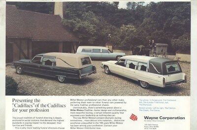 1976 Cadillac Hearse Miller Meteor Double Page Magazine Ad wz2300