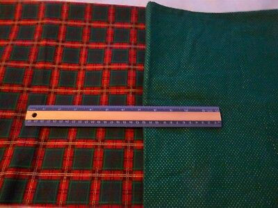 """2 cotton Christmas fabrics-gold dots on green 31"""", green & red plaid 27"""""""