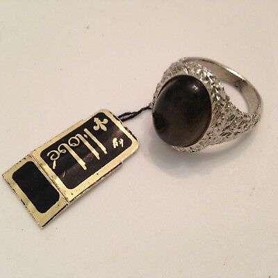 Vintage, Rare, Hobe Silver Tone, Sensuous Stone Adjustable Ring with Orig. Tag
