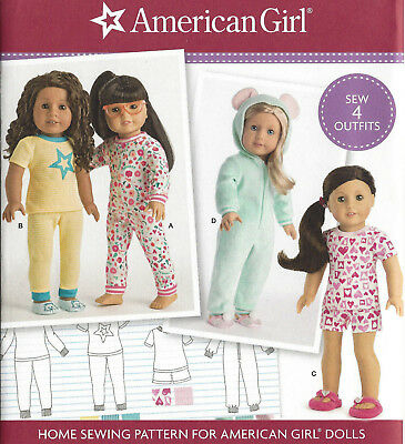 "18"" AMERICAN GIRL DOLL Pajamas Sleeper Simplicity 8535 Sewing Pattern UNCUT 2017"