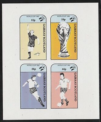 GB Locals GAIRSAY  7494 - 1982 FOOTBALL WORLD CUP imperf sheetlet of 4 u/mint