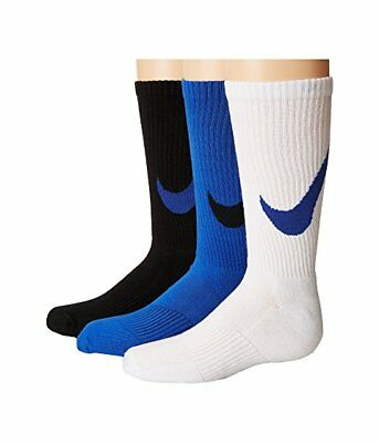 NEW Nike Youth S 3 Pack Performance Cotton Cushioned Crew Socks 3-5 Blue NWT