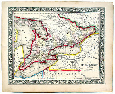 1862 Canada West (Ontario), Mitchell Antique Hand-Colored Map