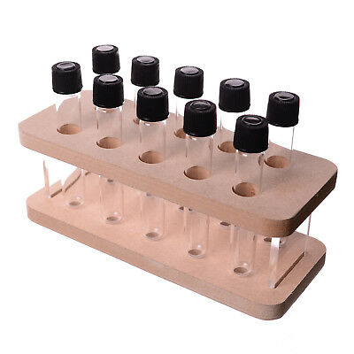 TEST TUBE RACK - MDF & PERSPEX TEST TUBE STAND WITH 10 GLASS TUBES- 200mm x 80mm