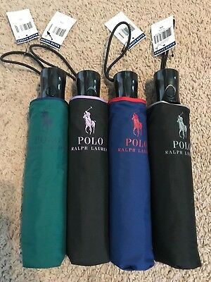 New Polo Ralph Lauren Foldable Compact Umbrella with Big Pony