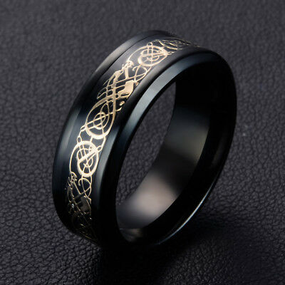 Vintage Black 8mm Band Celtic Dragon Tungsten Carbide Ring Men's Jewelry #7-#10