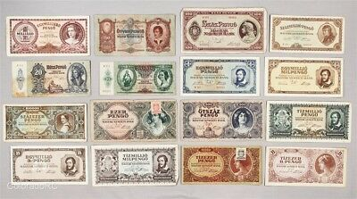 Lot of 16 Hungary Paper Currency Notes in Mixed Grades, 1932-1946 Issue Dates