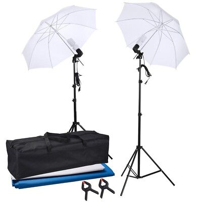 "2x33"" Photo Studio Light Umbrella Stand Photography Lighting Kit w/ Backdrops"