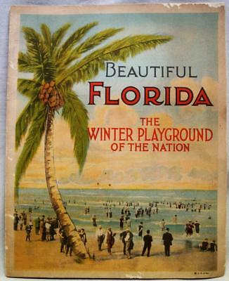 FLORIDA SOUVENIR BROCHURE BOOKLET OF COLOR VIEWS 1920s VINTAGE TRAVEL