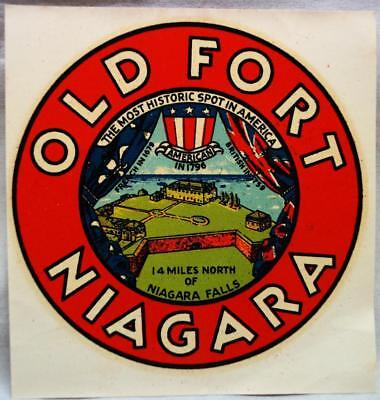 OLD FORT NIAGARA NEW YORK SOUVENIR DECAL WINDOW STICKER VINTAGE TOURISM 1950s
