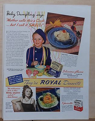 """1940 magazine ad for Royal pudding - Baby Dumpling (Larry Simms) of """"Blondie"""""""