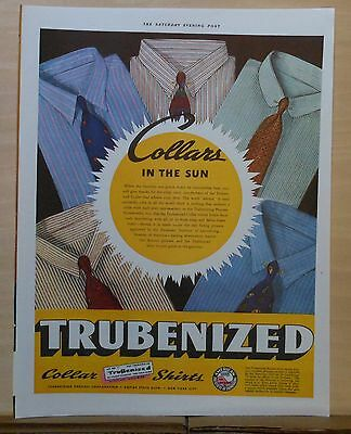 1937 magazine ad for Trubenized Collar Shirts - Collars in the Sun, crispy cool