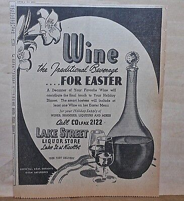 1940 newspaper ad for Wine - The Traditional Beverage for Easter, wine decanter