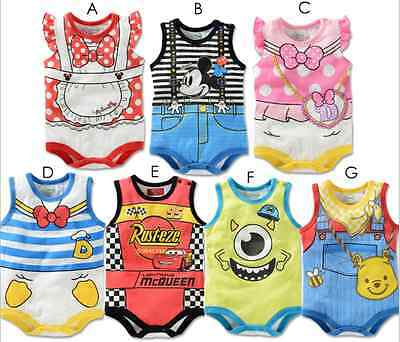 Disney Baby Boys Girls Cartoon Summer Bodysuits Jumpsuit Romper Sunsuit Outfits