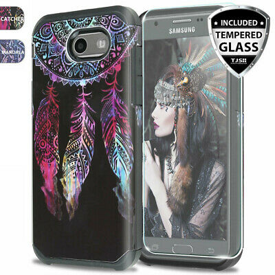 For Galaxy Halo/J7 Sky Pro/Prime/Perx/V 2017 Case Rubber Design +Tempered Glass