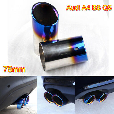 2× Stainless Steel Chrome Exhaust Pipe Tail Rear Muffler Tip for Audi A4 B8 Q5