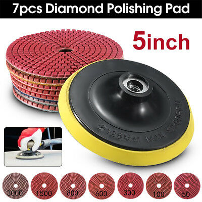 8PCS Diamond Polishing Pads Wet/Dry 5 inch Set For Granite Stone Concrete Marble