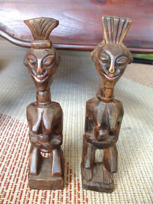 Figure Couple Wooden Carved Africa African Deco