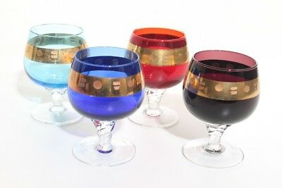 Beautiful Coloured Cognac Glasses Balloon Murano var. 4 Pieces