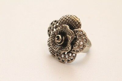 Beautiful Ring Rose Blossom Silver Coloured Adjustable Original Vintage 1970er