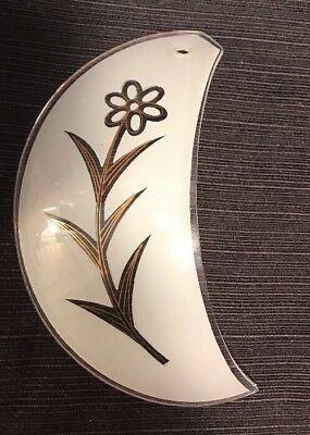 REPLACEMENT Touch lamp small curved glass piece part White Gold daisy flower